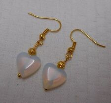 Unique handmade opalite hearts simple gold plated earrings + stoppers