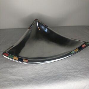 Mikasa Carnival Triangular Bowl DPK01-738 Silver Center Piece Dish Tray