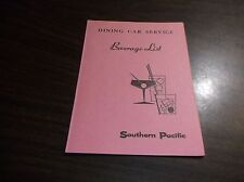 FEBRUARY 1966 SOUTHERN PACIFIC BEVERAGE LIST DINING CAR SERVICE MENU