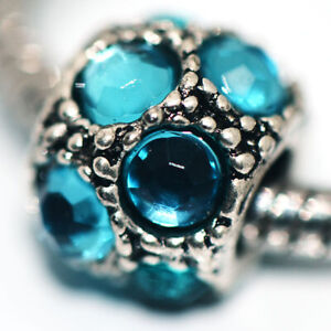 1x Blue Crystal Bead Charms Spacer Fit Eupropean Chain Bracelet Making Jewelry