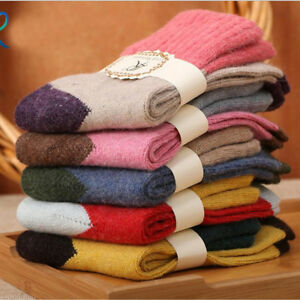 5 Pairs Women's Wool Cashmere Warm Soft Thick Multicolor Winter Socks Free Size