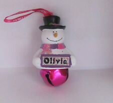 25391 OLIVIA NAME FROSTY SNOWMAN COLOUR BELL CHRISTMAS TREE DECORATION GIFT
