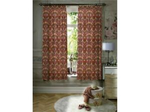 William Morris Gallery Strawberry Thief Red Fully Lined Curtains & Tie Backs