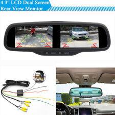 "4.3"" Car SUV Dual Screen Rear View Parking Monitor Mirror + Bracket Universal"