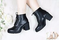LADIES WOMENS' SIDE ZIP CHUNKY BLOCK MID HEEL PLATFORM ANKLE BOOTS SHOES SIZE