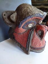Vintage African Wood Carved Monkey Head Mask Beaded with Cowrie Shell Eyes