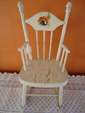 Original Antique Childs doll/bear rocker shabby paint has a boy taking a siesta
