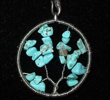 NEW WISDOM TREE TURQUOISE NATURAL STONE PENDANT WHITE LEATHER CHAIN NECKLACE
