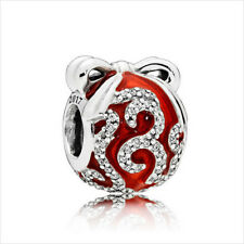 European 925 Silver CZ gift box Charm Beads Pendant Fit Bracelet Necklace Chain