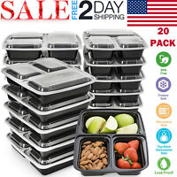 20 Pack Meal Prep Containers 3 Compartment Food Storage Plastic Reusable