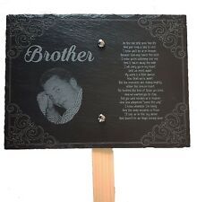 Personalised Engraved Memorial Slate, Includes photo. Remembrance, Grave