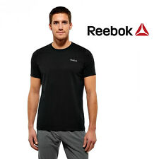 Reebok Elements Crew Neck Mens Training T-Shirt Tee Black Free Tracked Post