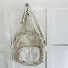 Large Shoulder Hand Bag Tan Faux Leather Satchel Tote With Floral Lace ZIP Up