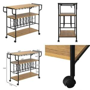 Wooden Wine Rack Cart with Metal Frame Kitchen Rolling Storage Bar Table 3-Tier