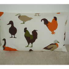 """20""""x12"""" Oblong Cushion Cover Ducks Roosters Cockrels Orange Brown Green 12x20"""