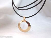 Vintage Sterling Silver 925 Gold Plate Round Pendant Signed