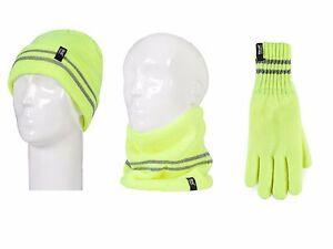 Heat Holders - Mens Hi Vis Reflective Warm Thermal Hat Neck Warmer & Gloves Set