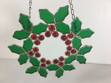 """Vintage Stained Glass Christmas Holly Wreath With Chain 10"""" FLAW"""