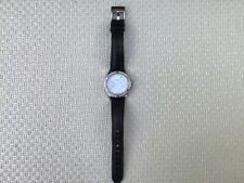 womens Accurist crystal watch with black leather strap