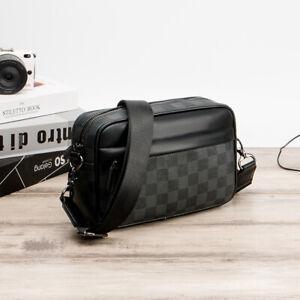 Men's Bag Youth Shoulder Bag Black Zipper Travel Bag PU Leather Crossbody Bag