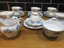 Royal Vale VINTAGE Blue Daisy Tea Set Trio X 6 With Sugar Bowl & Milk Jug