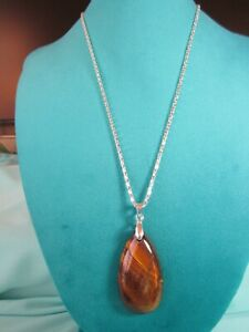 """Natural Yellow Tiger's Eye Gemstone Pendant Necklace 20"""" Silver Plated Chain"""