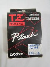 GENUINE Brother P-Touch TZ-153, Blue on Clear 24mm x 8m, Tape Cassette Lable TZ