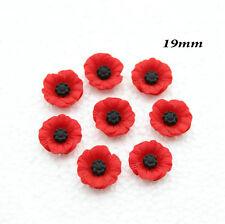 45 pcs Chic Resin Red Poppy Flower Artificial Flower Flatback Embellishment 19mm