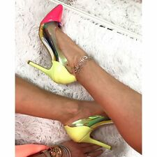 Ladies Pink High Heels Contrast Holographic Pointed Toe Neon Summer Heel Size 6