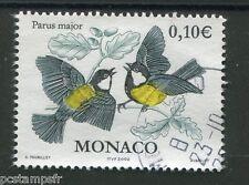 MONACO - 2002 - timbre 2324, OISEAUX, MESANGE CHARBONNIERE, oblitéré