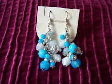 Pretty Blue Drop Dangle Beaded CLIP-ON Earrings