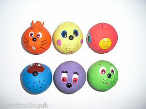 New 3 Armtiage Latex FACE BALL Dog TOY Puppy Bright