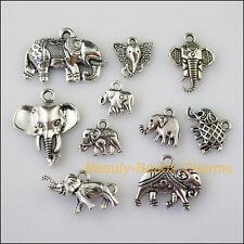 10Pcs Antiqued Silver Tone DIY/Animal Elephant Mixed Charms Pendants