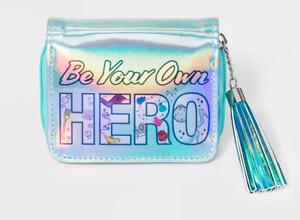 NEW Girls Disney Princess Be Your Own Hero Zip Wallet iridescent teal w/ tassel