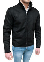 Giubbotto giacca uomo nero scamosciato slim fit bomber casual jacket da S a XXL
