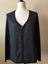 Talbots Womens Cardigan Silk/cotton Sweater Black/White polka dot - Size L EUC