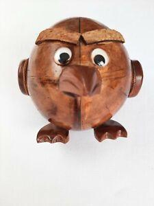 Kids Brown Wooden Angry Bird Piggy Bank Hand Made