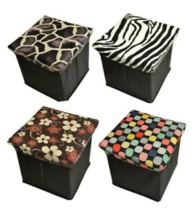 Single Seater Folding Storage Pouffe Ottoman Padded Foot Stool Box Floral Print