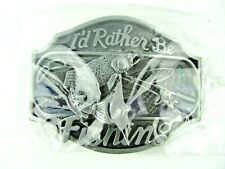 Fish Metal Belt Buckle-New I'd Rather Be Fishing