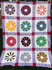 Vintage Machine Pieced Dresden Plate Quilt Top Set in Purple