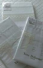 YVES DELORME LAURIER NACRE SATIN EMBROIDERED DUVET COVER SET SUPERKING LUXURY