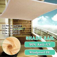 Outdoor Car Garden Patio Pool Sun Shade Sail 90% Anti-UV Net Canopy 4 Size