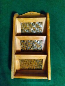 Wooden 3-Tier Wall Mount Mail Organizer Holder Woven Bamboo Letter Wood Rack
