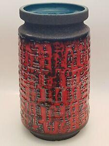 Vintage German mid century Fat Lava Vase Blue & Red 1970s