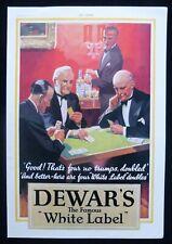 DEWAR'S WHITE LABEL SCOTCH WHISKY BRIDGE CARD GAME 1930s MAGAZINE ADVERT 1934