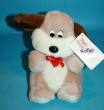 Plush Parade Dog Vtg 1988 Soft Toy Ace Novelty Beige Plushie Bow Brown Ears New