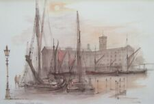St Katherine's Dock, Mads Stage - Traditional London Art 30x40cm Mounted Print
