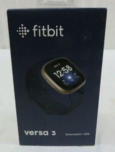 Fitbit Versa 3 Activity Tracker Smartwatch Soft Gold Aluminum Case Midnight Band