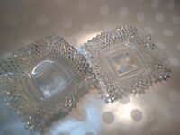 "Vintage Cut Glass Candy Dish Bowl ashtray set of 4 about 7""x7"" depression glass"