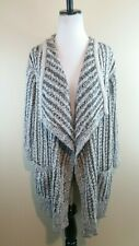 THAKOON Black Ivory Marled Open Front Knit Drape Chunky Cardigan Sweater L